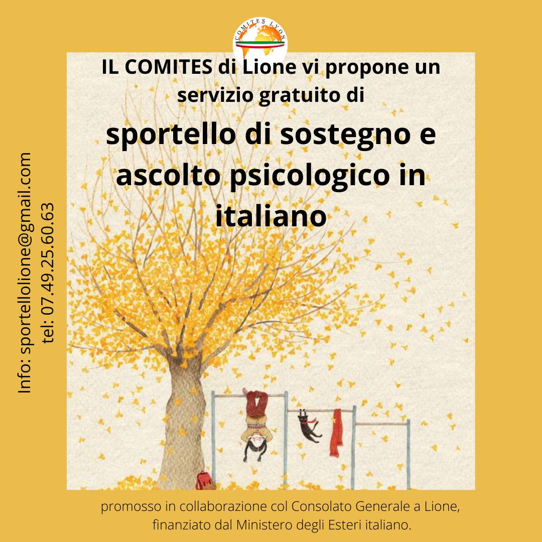 sportello di sostegno e ascolto psicologico in italiano